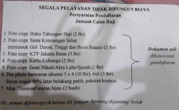 Persyaratan Dokumen Pendaftaran Haji Reguler